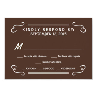 Eat Drink & RSVP Chocolate Brown Wedding Reply Card