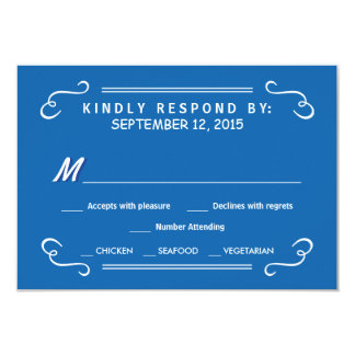 """Eat Drink & RSVP Pacific Blue Rustic Wedding Reply 3.5"""" X 5"""" Invitation Card"""