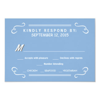 Eat Drink & RSVP Sky Blue Rustic Wedding Reply Card
