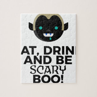 Eat Drink Scary Boo Halloween Design Jigsaw Puzzle