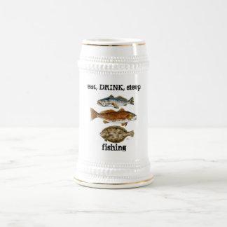 eat, DRINK, sleep fishing Beer Stein