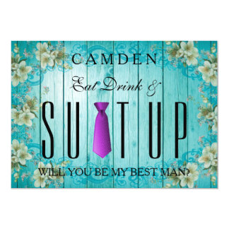 Eat Drink & Suitup Purple Will you be my Bestman Card