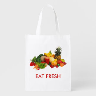 EAT FRESH VEGGIES and FRUITS BAG Grocery Bag