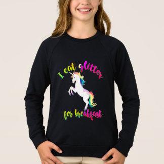 eat glitter for breakfast unicorn funny kids shirt