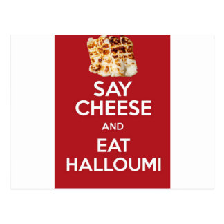 EAT HALLOUMI GREEK CHEESE POSTCARD