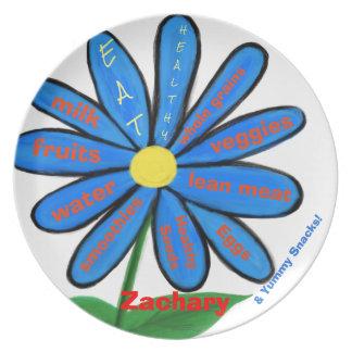 Eat Healthy Blue Floral Kids Name Plates