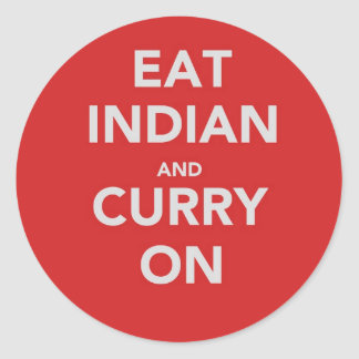Eat Indian and curry on Round Sticker