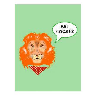 Eat Locals Funny Lion College Humour Cartoon Postcard