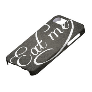 eat me - Script with Damask Background iPhone 5 Covers