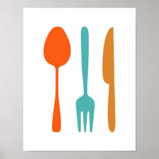 Eat - Mid Century Modern Styled Kitchen Poster