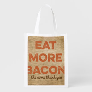 Eat More Bacon Burlap Background Market Totes