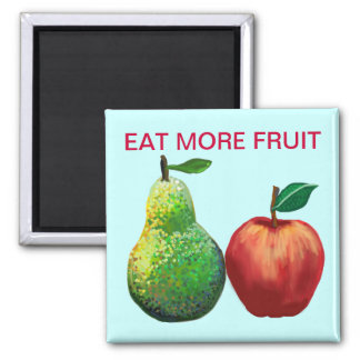 Eat more fruit - apple and pear square magnet