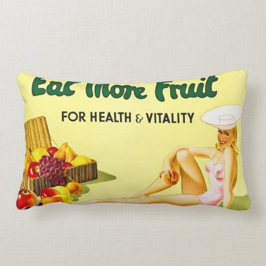 Eat More Fruit for Health and Vitality Vintage Lumbar Pillow