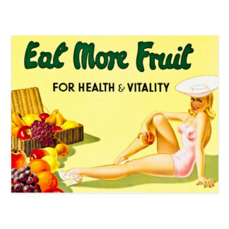 Eat More Fruit for Health and Vitality Vintage Postcard