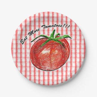 "Eat More Tomatoes!!! Custom Paper Plates 7"""