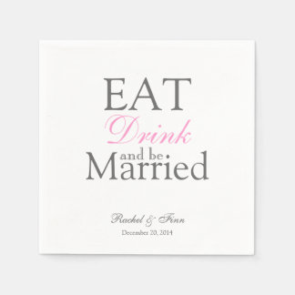 Eat n be Married Cocktail Napkin Paper Napkin