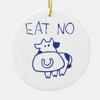 Eat no cow - blueb ceramic ornament