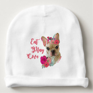 Eat Play Love cute french bulldog baby beanie