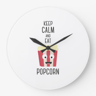 Eat Popcorn Z6pky Large Clock