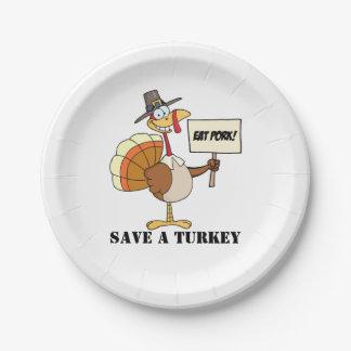 Eat Pork Save A Turkey Paper Plate