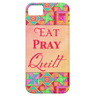 Eat Pray Quilt Colorful Patchwork Block Art iPhone 5 Covers