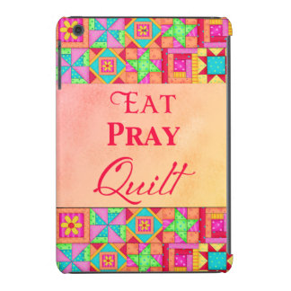 Eat Pray Quilt Red Coral Patchwork Block Art iPad Mini Cases
