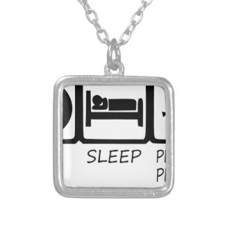 EAT SLEEP41 SILVER PLATED NECKLACE