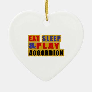 Eat Sleep And Play ACCORDION Ceramic Heart Ornament