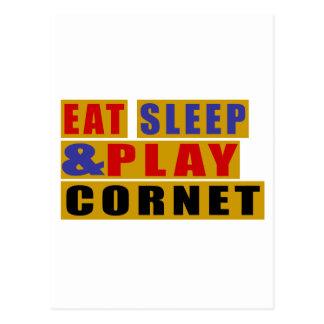 Eat Sleep And Play CORNET Postcard