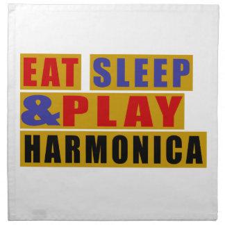 Eat Sleep And Play HARMONICA Printed Napkins