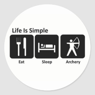 Eat Sleep Archery Classic Round Sticker