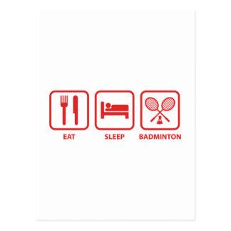 Eat Sleep Badminton Postcard