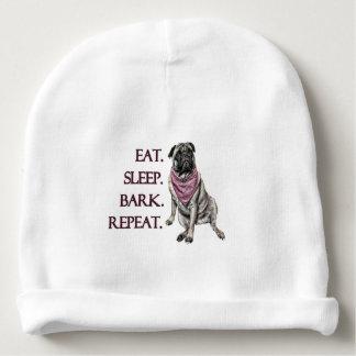 Eat, sleep, bark, repeat pug baby beanie