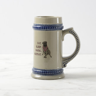 Eat, sleep, bark, repeat pug beer stein