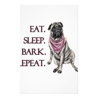 Eat, sleep, bark, repeat pug customized stationery
