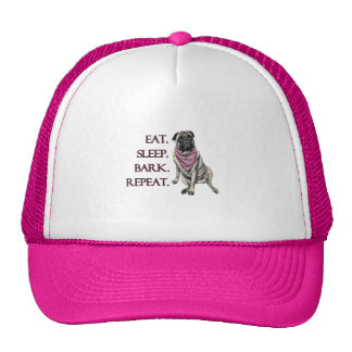Eat, sleep, bark, repeat pug trucker hat