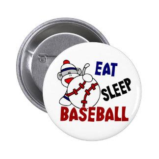 Eat Sleep Baseball Sock Monkey 2 Inch Round Button