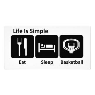 Eat Sleep Basketball Custom Photo Card
