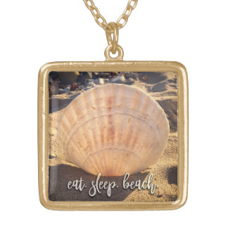 """Eat, Sleep, Beach"" California Sand Seashell Photo Gold Plated Necklace"