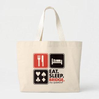 Eat Sleep Bridge Large Tote Bag