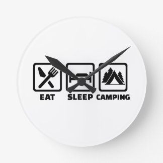 Eat sleep camping round clock