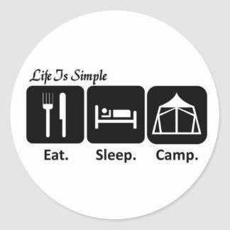 Eat, Sleep, Camping Round Sticker