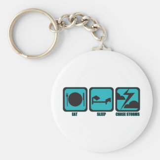 Eat Sleep Chase Storms Basic Round Button Keychain