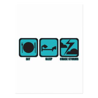 Eat Sleep Chase Storms Postcard