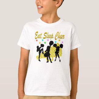 EAT, SLEEP, CHEER GOLD CHEERLEADING DESIGN T-Shirt