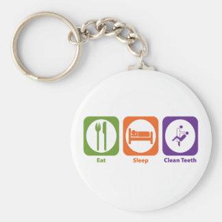 Eat Sleep Clean Teeth Basic Round Button Keychain