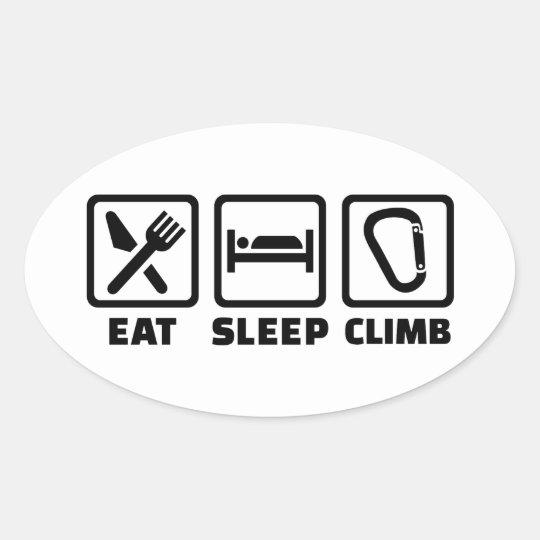 Eat sleep climb oval sticker