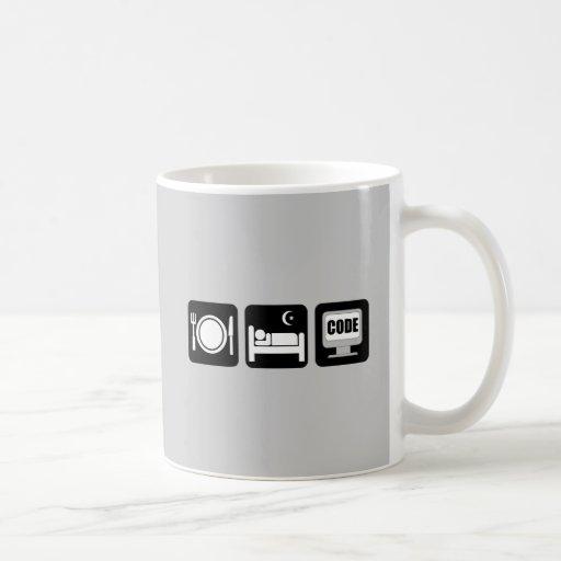 eat sleep code basic white mug