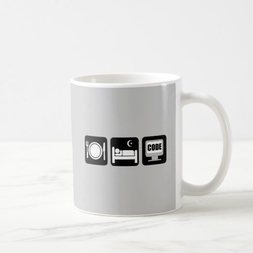 eat sleep code classic white coffee mug