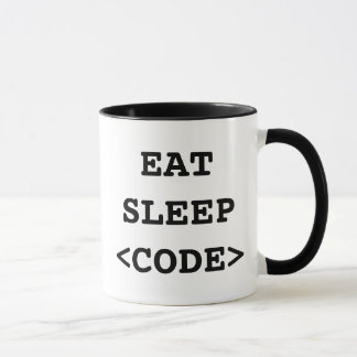 Eat sleep code coffee mug for programmers
